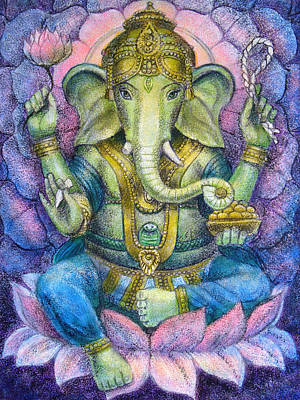 Spiritual Painting - Lotus Ganesha by Sue Halstenberg