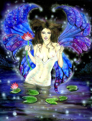 Lotus Goddess Fairy Art Print by Carmen Daspit