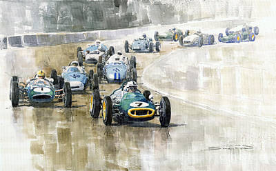 Car Jacking Painting - 1961 Germany Gp  #7 Lotus Climax Stirling Moss Winner  by Yuriy Shevchuk