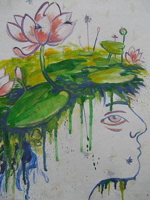 Print featuring the painting Lotus Head by Tilly Strauss