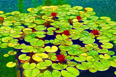 Lilly Pond Painting - Lotus In The Pond by Lanjee Chee