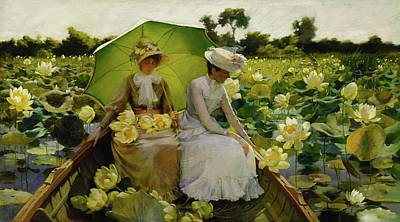 Umbrellas Mixed Media - Lotus Lillies by Michael Durst after Curran
