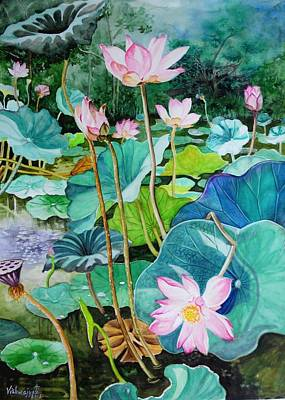 Painting - Lotus Pond 1 by Vishwajyoti Mohrhoff