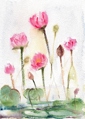 Painting - Lotus Pond by Asha Sudhaker Shenoy