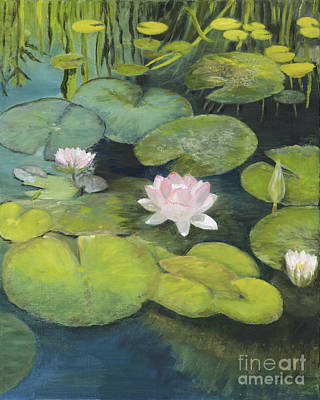 San Juan Capistrano Painting - Lotus Pond At The Mission by Verlaine Crawford