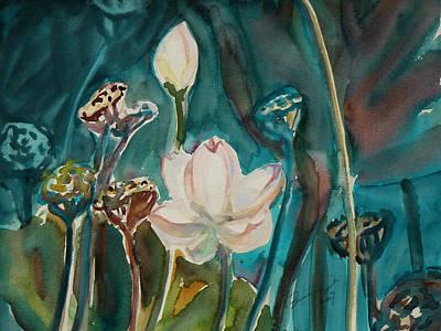 Lotus Bud Painting - Lotus Study I by Xueling Zou