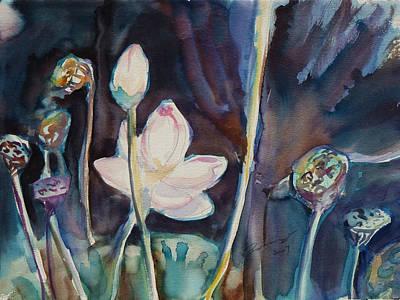 Lotus Bud Painting - Lotus Study II by Xueling Zou