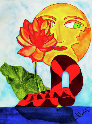 Painting - Lotus Sun And Pose by Dee Browning