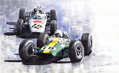 Lotus Wall Art - Painting - Lotus Vs Honda Mexican Gp 1965 by Yuriy Shevchuk