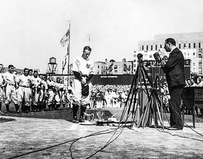 Lou Gehrig Vintage Photograph - Lou Gehrig - Farewell Speech by Albert Bolognese