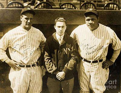 Photograph - Lou Gehrig And Babe Ruth New York Yankees 1927 by Unknown