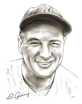 League Drawing - Lou Gehrig by Greg Joens