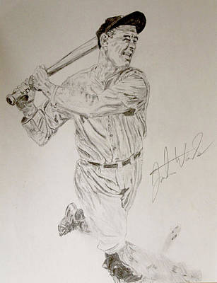 Mlb Hall Of Fame Drawing - Lou Gehrig by Justin Wade