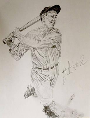 New York Yankees Drawing - Lou Gehrig by Justin Wade