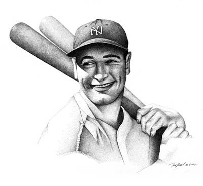 Lou Gehrig Drawing - Lou Gehrig by Matthew Riedl