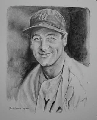 Paul Autodore Artist Drawing - Lou Gehrig by Paul Autodore