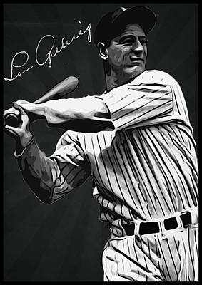 Baseball Digital Art - Lou Gehrig by Semih Yurdabak
