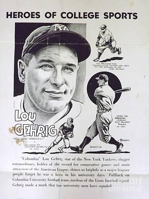 Lou Gehrig Drawing - Lou Gehrig by Steve Bishop
