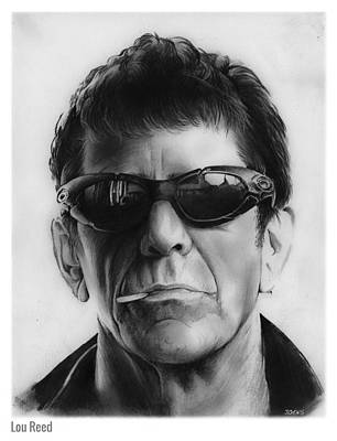 Musicians Drawings - Lou Reed by Greg Joens