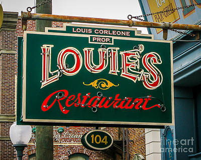 Louie's Neon Art Print by Perry Webster