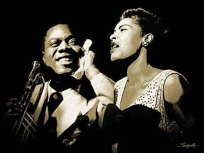 Digital Art - Louis Armstrong And Billie Holiday Portrait by M Spadecaller