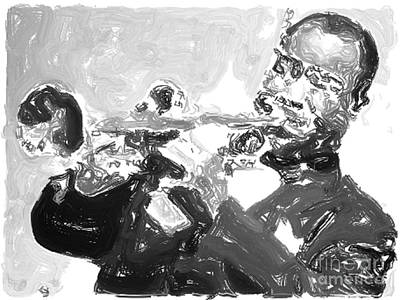 Trumpet Player Drawing - Louis Armstrong Energy by John Malone