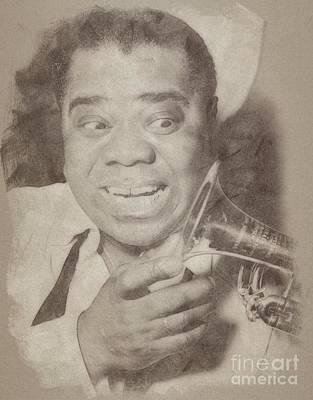 Musicians Drawings Rights Managed Images - Louis Armstrong, Jazz Musician Royalty-Free Image by Esoterica Art Agency