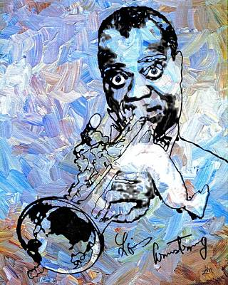 Jazz Digital Art - Louis Armstrong by Linda Mears