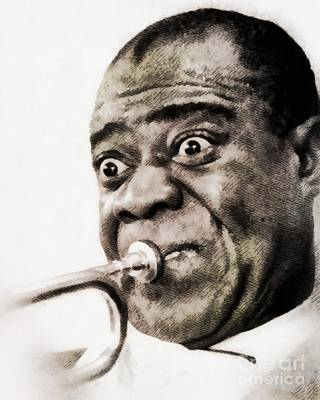 Music Paintings - Louis Armstrong, Music Legend by John Armstrong by Esoterica Art Agency