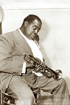 Photograph - Louis Armstrong, Nicknamed Satchmo, Trumpeter, Musician, And Jazz 1958 by California Views Archives Mr Pat Hathaway Archives
