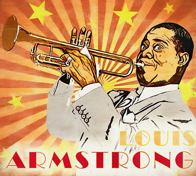 Mixed Media - Louis Armstrong Pop Art by Dan Sproul