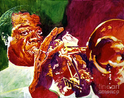 Jazz Legends Wall Art - Painting - Louis Armstrong Pops by David Lloyd Glover