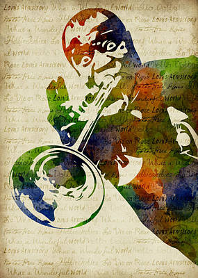 Digital Art - Louis Armstrong Watercolor by Mihaela Pater