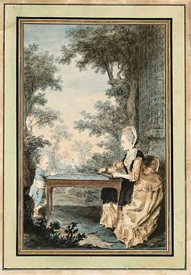 Farm House Style - Louis Carrogis dit Carmontelle PARIS 1717 - 1806 MADAME DE LACOMBE PLAYING TROU-MADAME WITH HER SON by Louis Carrogis dit Carmontelle