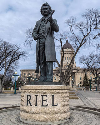 Photograph - Louis Riel Statue At The Manitoba Legislative Building by Tom Gort