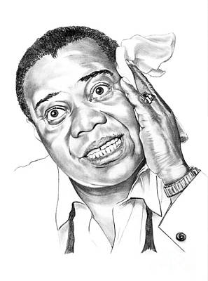Famous People Drawing - Louis Satchmo Armstrong by Murphy Elliott