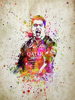 Barcelona Digital Art - Louis Suarez In Color by Aged Pixel