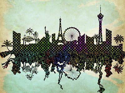 Digital Art - Louis Vuitton Las Vegas Skyline by Ricky Barnard