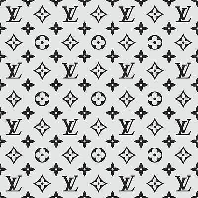 Louis Vuitton Wall Art - Digital Art - Louis Vuitton Pattern Lv 07 Grey by TUSCAN Afternoon