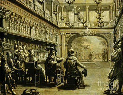 Theatrical Performance Painting - Louis Xiii, Anne Of Austria And Cardinal Richelieu At The Production Of Mirame by Jean de Saint Igny