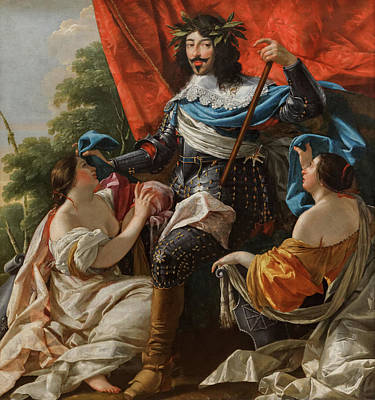 King Painting - Louis Xiii Between Two Female Figures by Simon Vouet