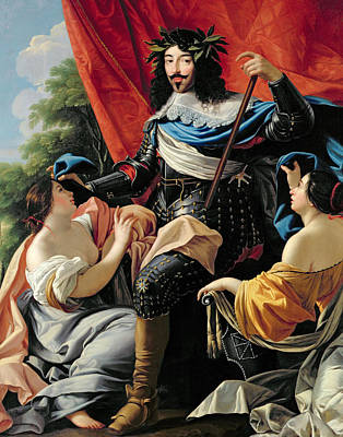 Red Drape Painting - Louis Xiii by Simon Vouet