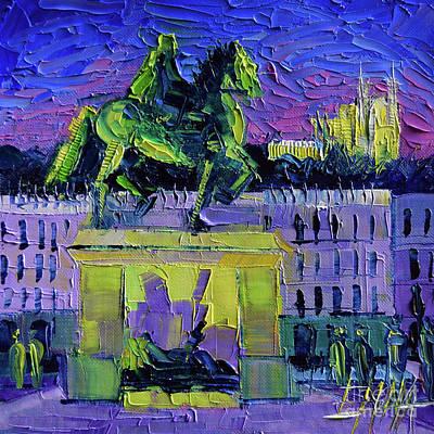 Louis Xiv - Bellecour Square By Night Lyon Original by Mona Edulesco