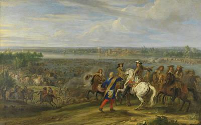 Netherlands Painting - Louis Xiv Crossing Into The Netherlands by Adam Frans Van Der Meulen