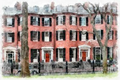 Townhouse Photograph - Louisburg Square Beacon Hill Boston by Edward Fielding