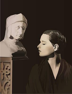 Louise Brooks With Bust Of Dante Alighieri  Art Print by Vintage Brooks