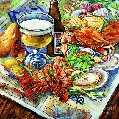 Crawfish Painting - Louisiana 4 Seasons by Dianne Parks