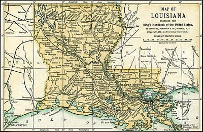 Photograph - Louisiana Antique Map 1891 by Phil Cardamone
