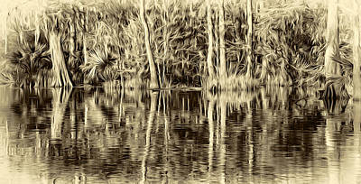 Cypress Swamp Digital Art - Louisiana Bayou 3 - Paint Sepia by Steve Harrington