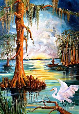 Egret Painting - Louisiana Bayou by Diane Millsap